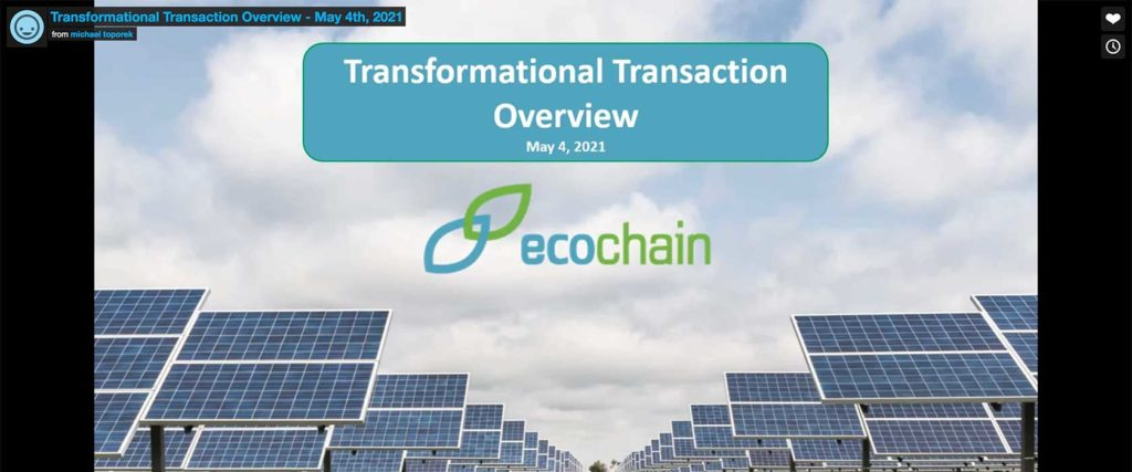 EcoChain, Inc. Adds Immediate Capacity; Transformation on Track Towards 50MW 2021 Target